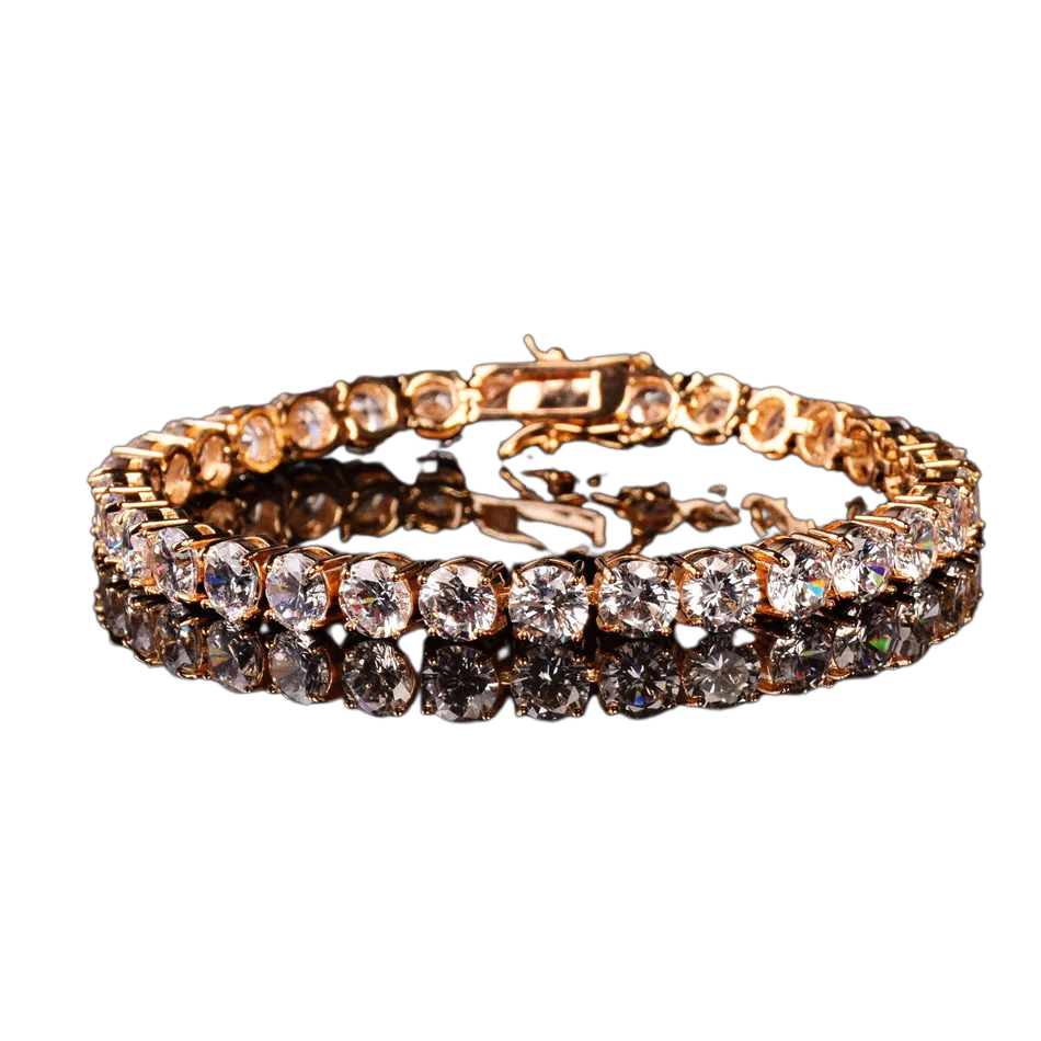 24k Gold Plated Tennis Bracelet - 7 inch