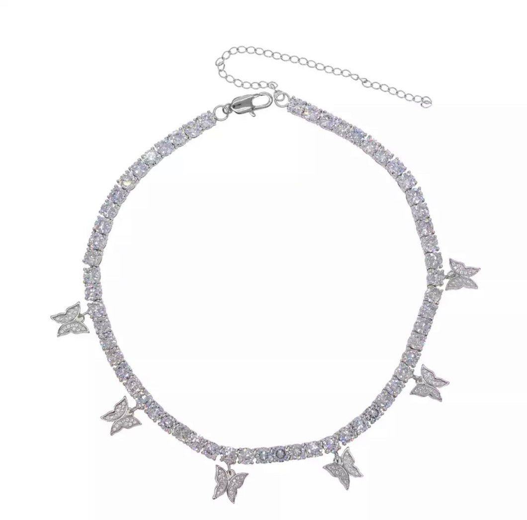 Butterfly White Gold Tennis Chain - 4mm