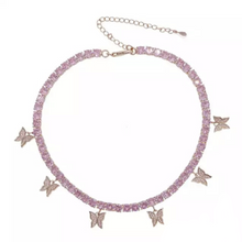 Load image into Gallery viewer, 18k Gold Plated Pink Butterfly Chain