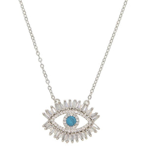 'I See You' 18k Plated White Gold Eye Necklace