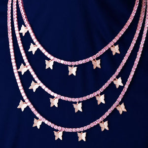 18k Gold Plated Pink Butterfly Chain