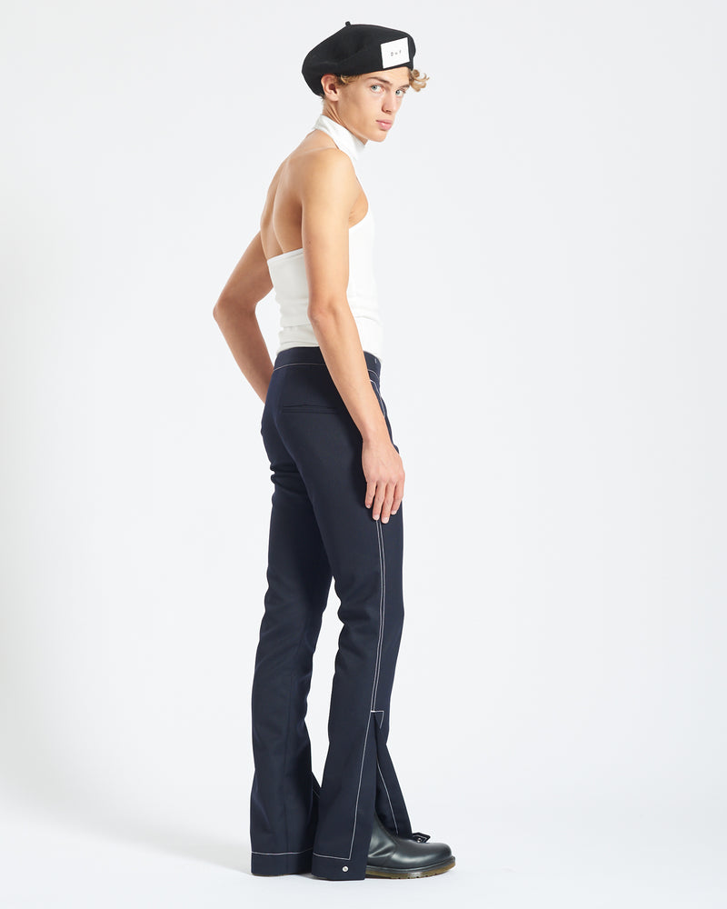 Contrast Stitch Split Hem Trousers