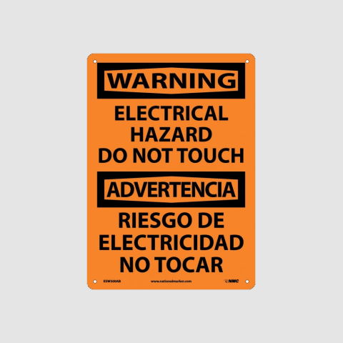 Bilingual Electrical Hazard Signs - www.signslabelsandtags.com
