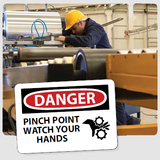 Pinch Point Signs | www.signslabelsandtags.com