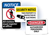 National Marker Admittance and Security Signs