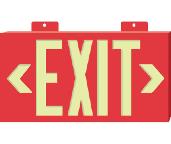 EXIT, GLOBRITE, DOUBLE FACE W/BRACKET, RED, 8.25X15.25