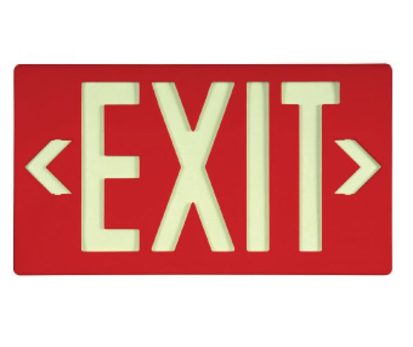 EXIT, GLOBRITE ECO EXIT, SINGLE FACE RED W/BRACKET,8.25X15.25