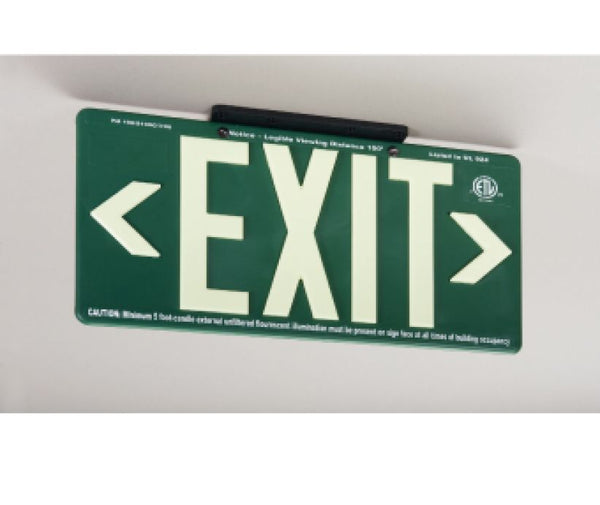 EXIT, GLOBRITE ECO EXIT, DOUBLE SIDED GREEN W/BRACKET, BLACK, 8.25X15.25