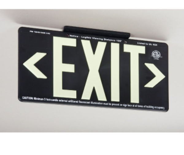 EXIT, GLOBRITE ECO EXIT, DOUBLE SIDED BLACK  W/BRACKET, BLACK, 8.25X15.25