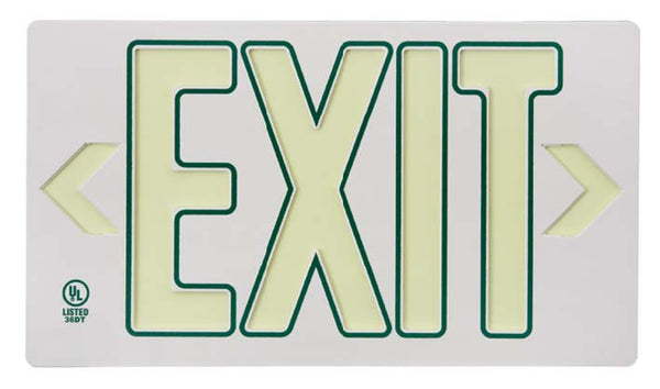 EXIT, GLOBRITE ECO EXIT, SINGLE FACE WHITE W/GREEN W/BRACKET, 8.25X15.25