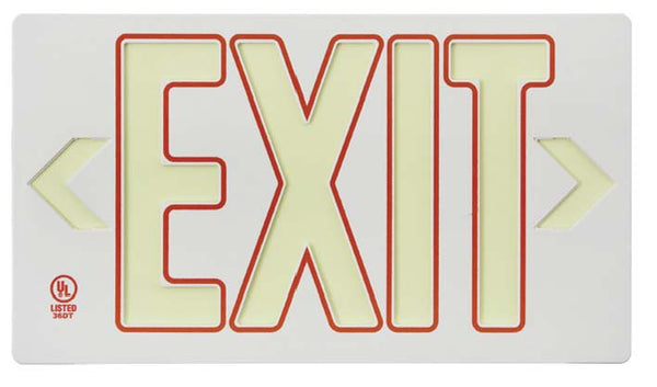 EXIT, GLOBRITE ECO EXIT, SINGLE FACE WHITE W/RED W/BRACKET, 8.25X15.25