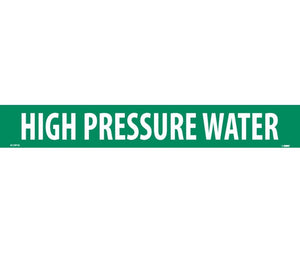 PIPEMARKER, HIGH PRESSURE WATER, 2X14, 1 1/4 LETTER,  PS VINYL