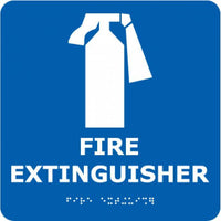 ADA, BRAILLE, FIRE EXTINGUISHER, BLUE, 8X8