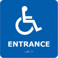 ADA, BRAILLE, ENTRANCE (W/HANDICAP SYMBOL), BLUE, 8X8