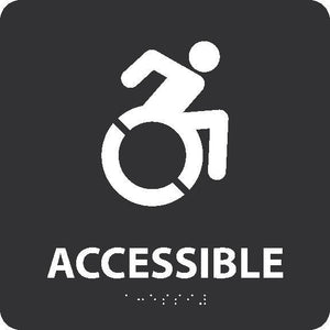 NEW YORK ADA ACCESSIBLE ENTRANCE SIGN, W/HANDICAP SYMBOL BLACK 8X8 SIGN,BRAILLE