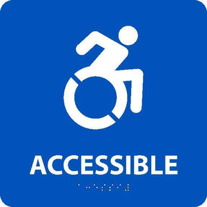 NEW YORK ADA ACCESSIBLE ENTRANCE SIGN, W/HANDICAP SYMBOL BLUE 8X8 SIGN, BRAILLE