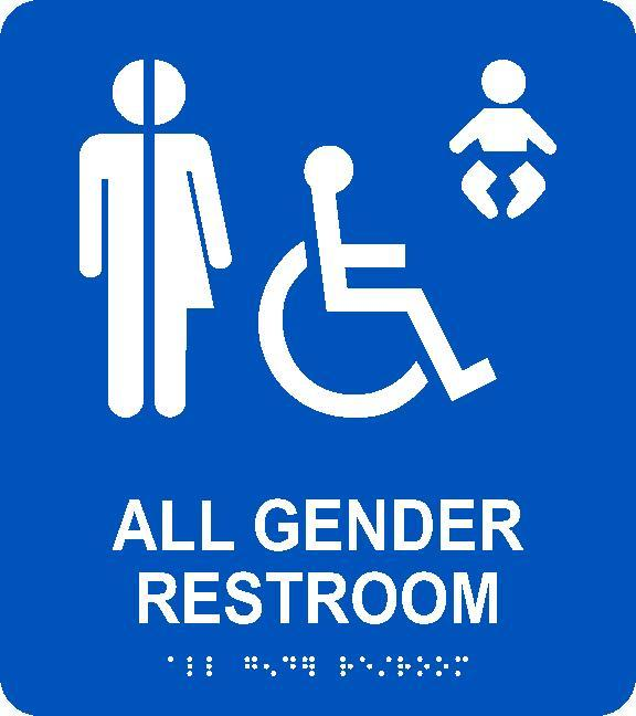 ALL GENDER RESTROOM/BRAILLE ADA SIGN, BLUE, 9X8