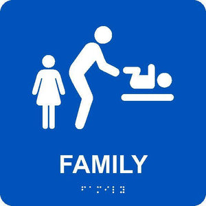 FAMILY RESTROOM WITH BABY TABLE/BRAILLE ADA SIGN, BLUE, 8X8