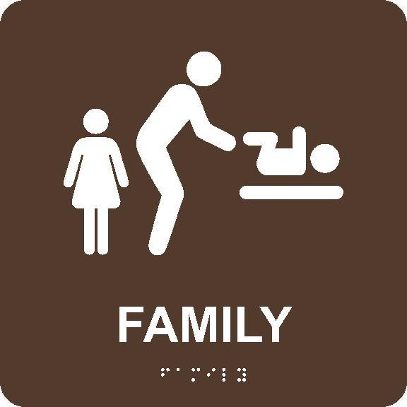 FAMILY RESTROOM WITH BABY TABLE/BRAILLE ADA SIGN, BROWN, 8X8