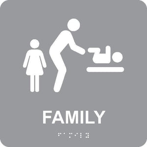 FAMILY RESTROOM WITH BABY TABLE/BRAILLE ADA SIGN, GREY, 8X8