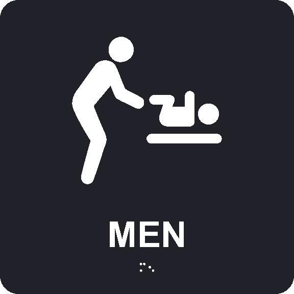 MEN RESTROOM WITH BABY TABLE/BRAILLE ADA SIGN, MEN, BLACK, 8X8