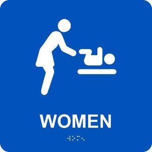 WOMEN RESTROOM WITH BABY TABLE/BRAILLE ADA SIGN, BLUE, 8X8