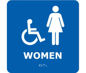 ADA, BRAILLE, WOMEN (W/HANDICAP SYMBOL), BLUE, 8X8