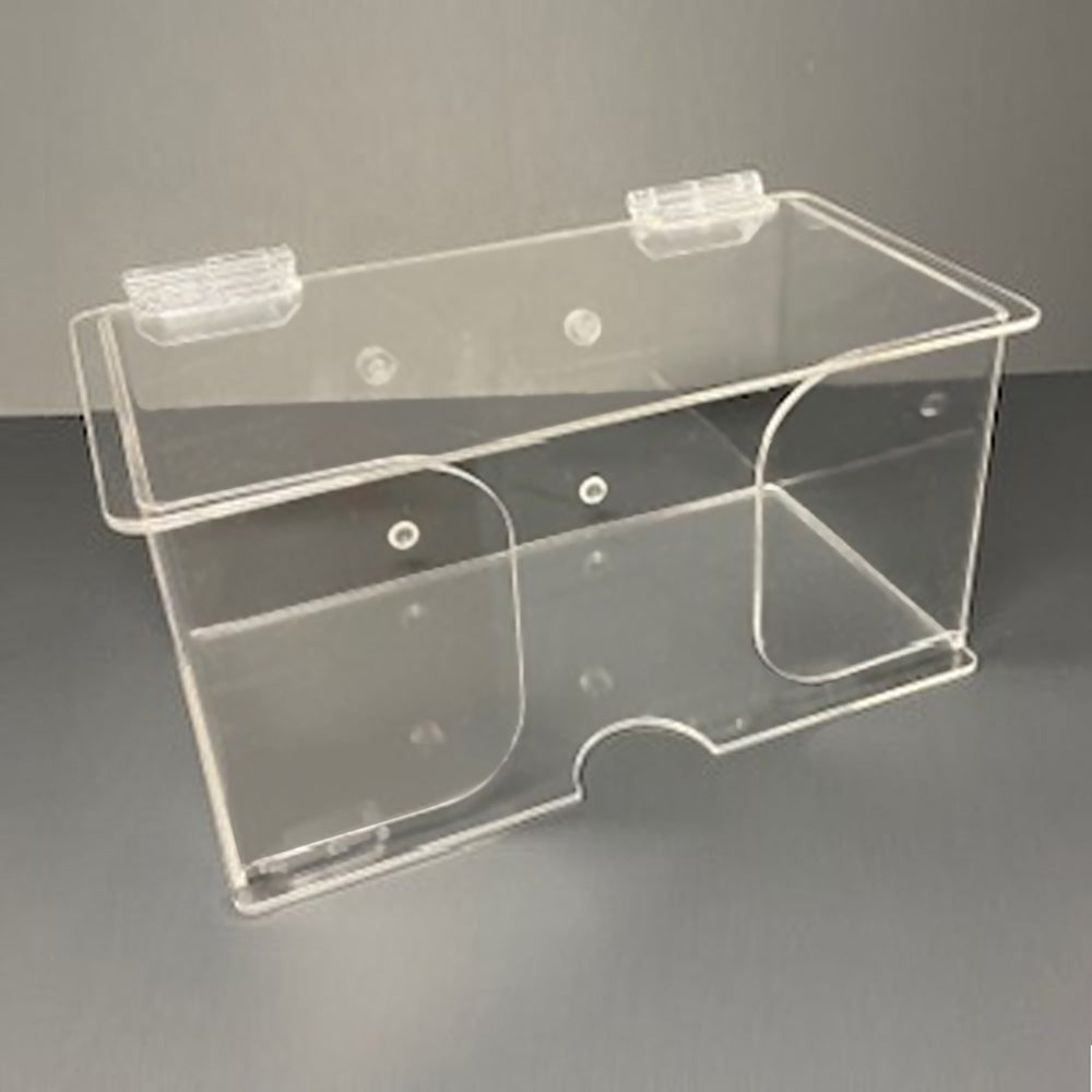 Acrylic Dust Mask Dispenser with Lid. Wall mount. Designed to hold single box of disposable, individually packaged dust masks.