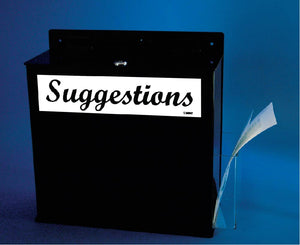 ACRYLIC SUGGESTIONS BOX, 12h x 11.75w x4 3/4d