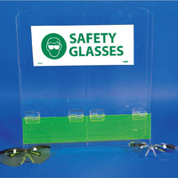 ACRYLIC, SAFETY GLASSES DISPENSER DOUBLE COMPARTMENT, 16h x 15.75w x 4d