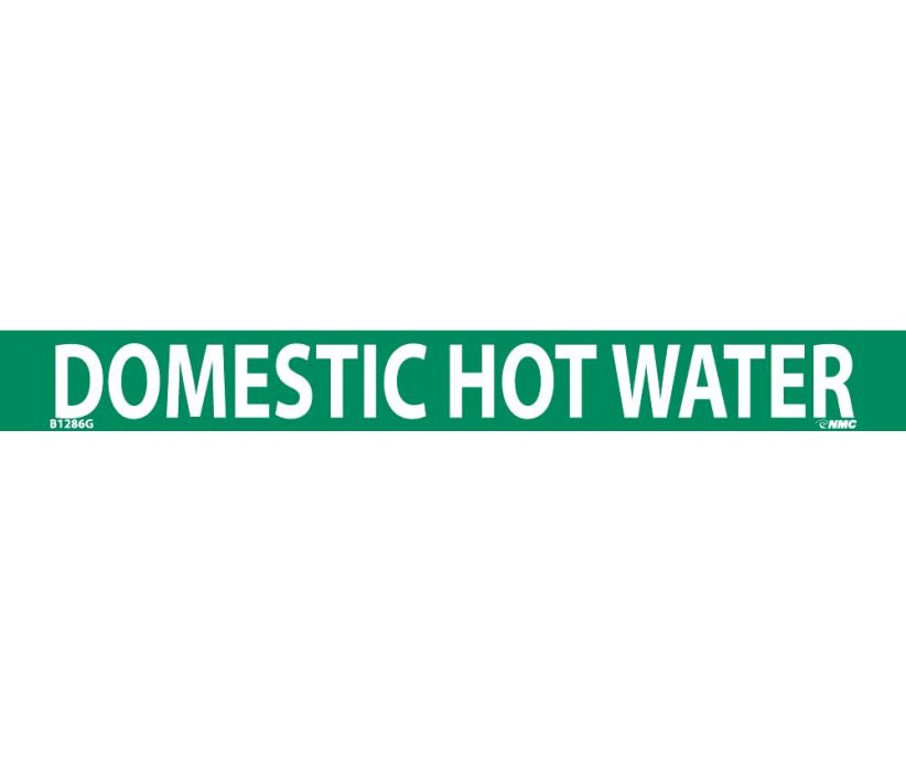PIPEMARKER, DOMESTIC HOT WATER, 1X9, 3/4 LETTER,  PS VINYL