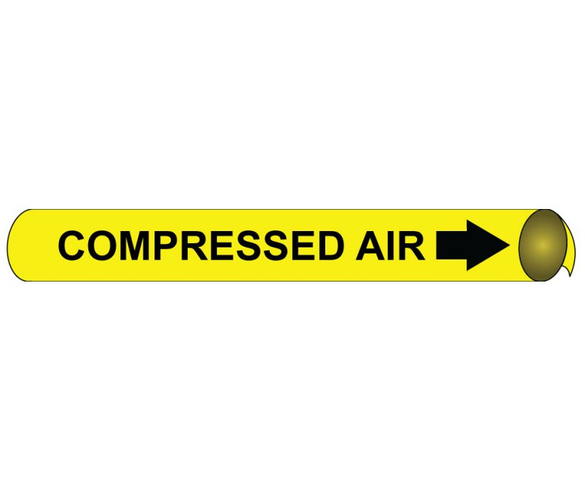 PIPEMARKER PRECOILED, COMPRESSED AIR B/Y, FITS 1 1/8