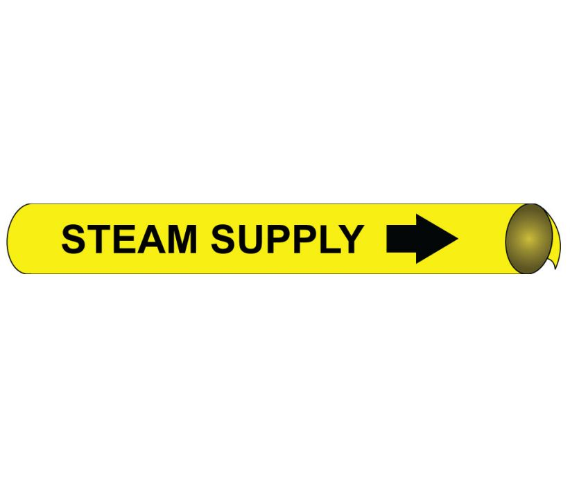 PIPEMARKER PRECOILED, STEAM SUPPLY B/Y, FITS 1 1/8