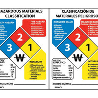 HAZARDOUS MATERIALS CLASSIFICATION SIGN (BILINGUAL), 3 1/2X2 1/2, RIGID PLASTIC