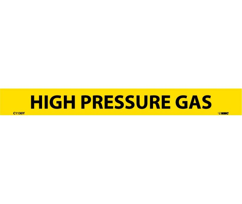 PIPEMARKER, PS VINYL, HIGH PRESSURE GAS, 1X9  1/2