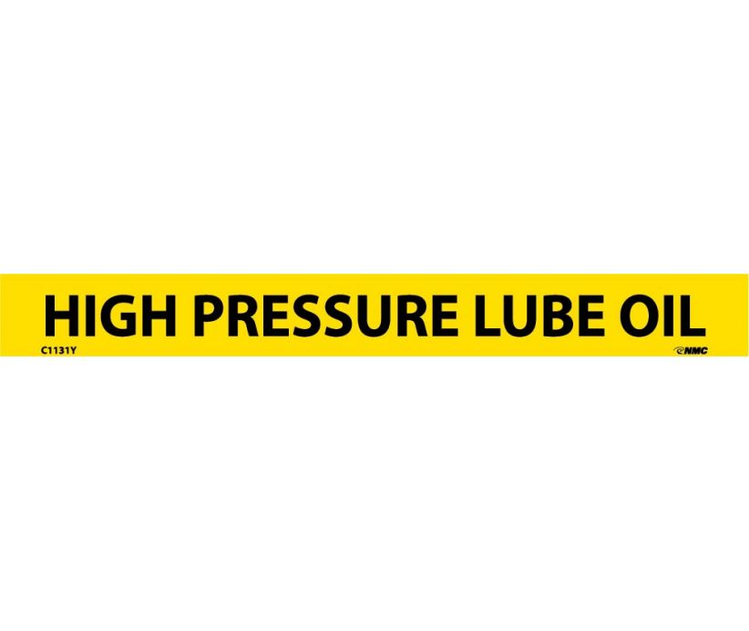 PIPEMARKER, PS VINYL, HIGH PRESSURE LUBE OIL, 1X9  1/2