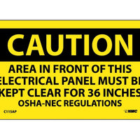 CAUTION, AREA IN FRONT OF THIS ELECTRICAL PANEL . . ., 3X5, PS VINYL, 5/PK