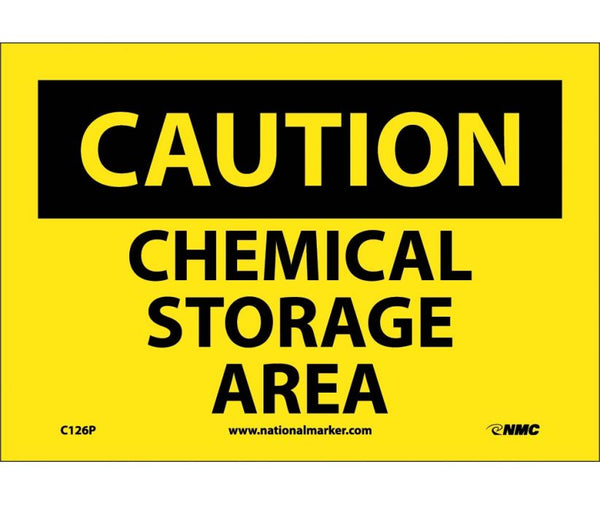 C126 National Marker Chemical and Hazardous Material Safety Signs Caution Chemical Storage Area