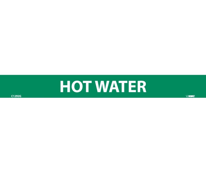PIPEMARKER, HOT WATER, 1X9, 1/2  LETTER,  PS VINYL