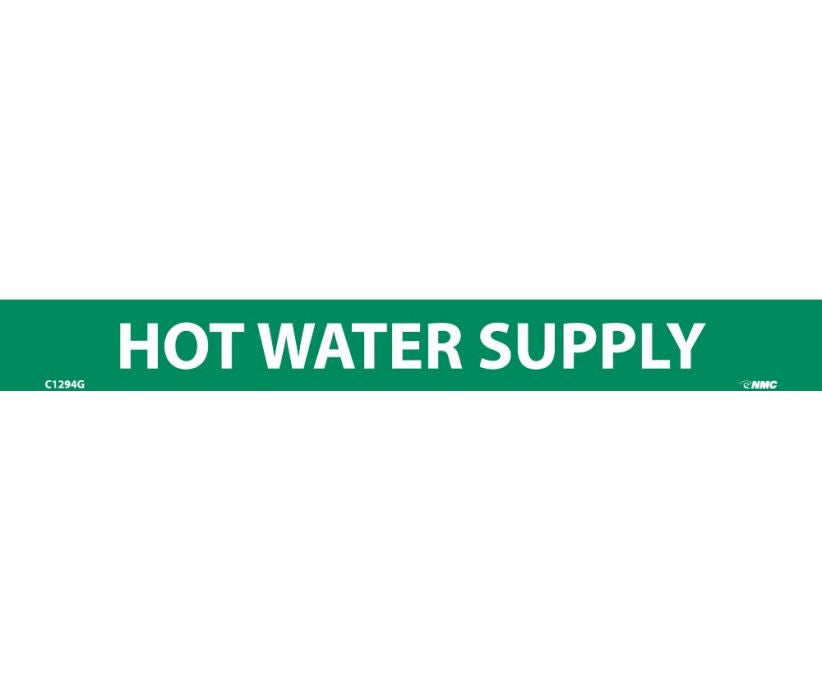 PIPEMARKER, HOT WATER SUPPLY, 1X9, 1/2  LETTER,  PS VINYL