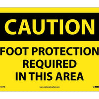 CAUTION, FOOT PROTECTION REQUIRED IN THIS AREA, 10X14, PS VINYL