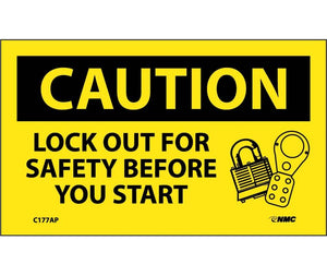 CAUTION, LOCKOUT FOR SAFETY BEFORE YOU START, 3X5, PS VINYL, 5/PK