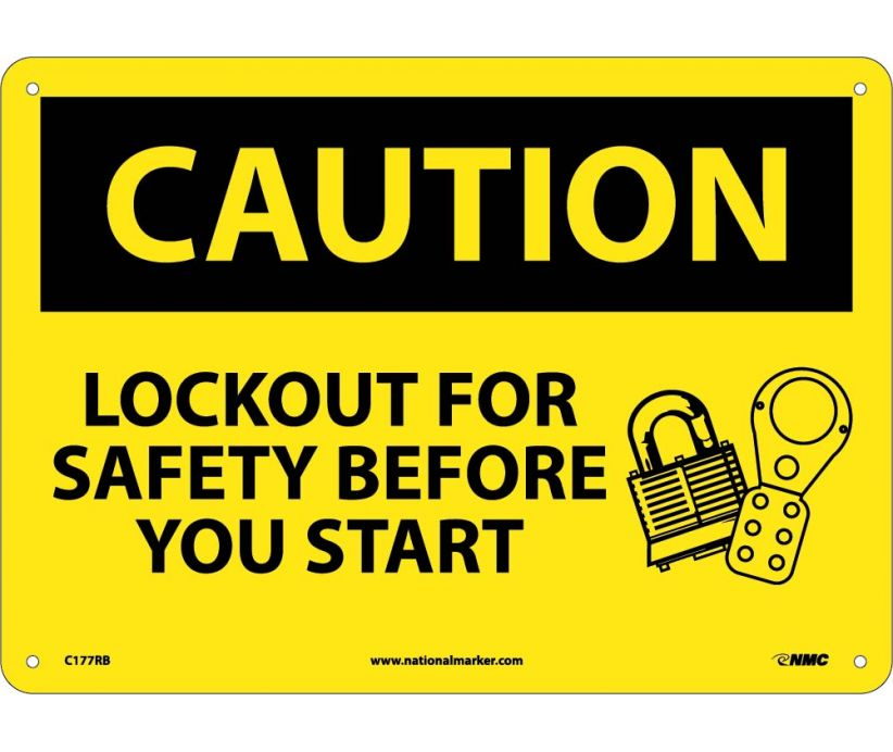 CAUTION, LOCKOUT FOR SAFETY BEFORE YOU START, 10X14 RIGID PLASTIC
