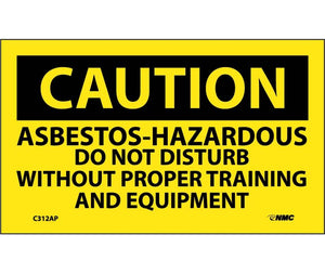 CAUTION, ASBESTOS-HAZARDOUS .., 3X5, PS VINYL, 5/PK
