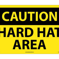 CAUTION, HARD HAT AREA, 14X20, RIGID PLASTIC