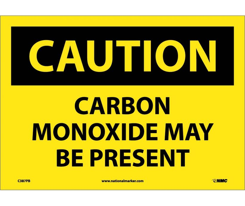 Carbon Monoxide May Be Present: OSHA Caution Header Signs (C387) By National Marker