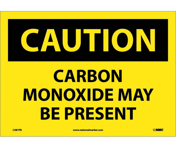 C387 National Marker Chemical and Hazardous Material Safety Signs Caution Carbon Monoxide May Be Present