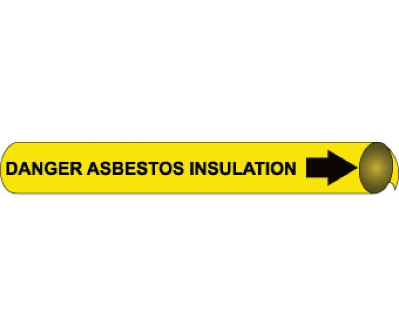 PIPEMARKER PRECOILED, DANGER ASBESTOS INSULATION B/Y, FITS 2 1/2