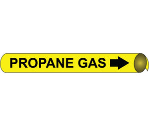 "PIPEMARKER PRECOILED, PROPANE GAS B/Y, FITS 2 1/2""-3 1/4"" PIPE"