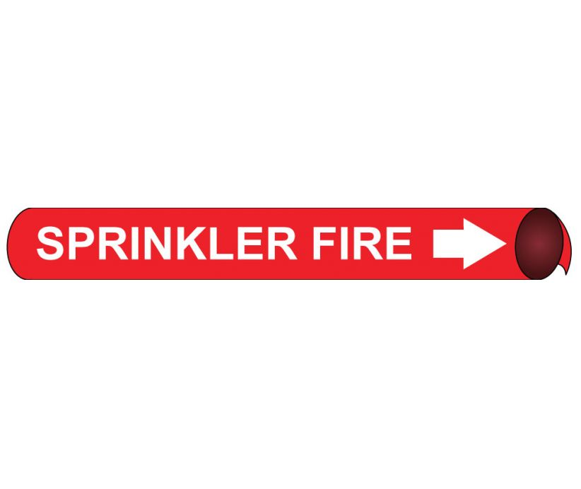 PIPEMARKER PRECOILED, SPRINKLER FIRE W/R, FITS 2 1/2
